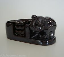 Vintage Hadson Pottery Elephant Ashtrays & Holder Set Made in Occupied Japan