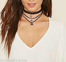 New Charm Vintage Gothic Black Velvet Chain Multilayer Choker Necklace Jewelry