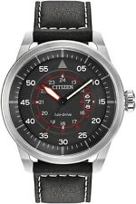New Citizen Eco-Drive Men's Avion Black Dial Black Leather Watch AW1361-01E