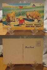 """1940's Linen Comic Color PC#100-""""Mama What's Papa Mad About? ©MWM #GC408"""