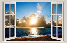 Beach Sunset Window View Repositionable Color Wall Sticker Wall Mural 36x23