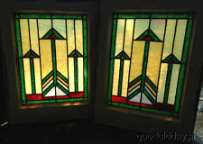 """Pair of Small Prairie Style Stained Glass Windows 21"""" by 16"""" From Chicago Window"""