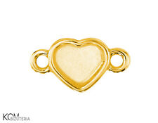 Pendant, bail heart 6 mm flat w 105 - gold-plated silver