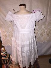 Pretty vintage white dress w/eyelet embroidered trim & pleats for antique doll