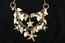 D26 Natural Sea Shell Faux Pearl Starfish Cluster Gold Layered Necklace
