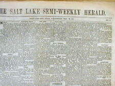 Rare original 1877 SALT LAKE CITY HERALD newspaper UTAH TERRITORY Early Mormons