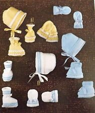 Vintage Knitting Pattern Baby Bootees, Bonnets & Mittens 1-6 months 4 Ply R2587