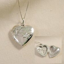 Sterling Silver Necklace And Handcraft Flower Butterfly Love Heart Locket w Box