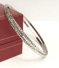 18k Solid White Gold Big Hoop Earrings 50mm .Diamond Cut Design. 3.20 grams