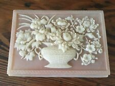 Vtg Genuine Pink Incolay Stone Carved Flowers Trinket Jewelry Box Hinged Lid EUC