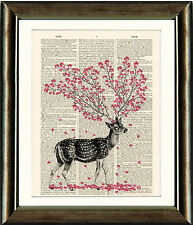 Antique Book page Art Print - Deer with Blossoms Upcycled Dictionary Wall Art