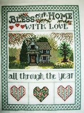 Beautiful Finished cross stitch piece-Bless Our Home...