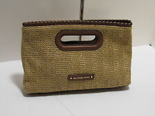 Authentic Michael Kors Rosalie Large Clutch/Crossbody - Straw/Walnut