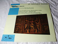 WL1070 St MATTHEW PASSION - JS BACH Favourite Choruses & Arias EXC-VG WING LP #B