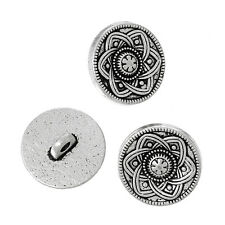10 Metal Shank Buttons Silver Tone Flower Design 15mm
