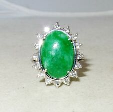 Vintage ? 14K White Gold Ring w/ A Grade Green JADEITE Jade & Diamonds  (size 7)