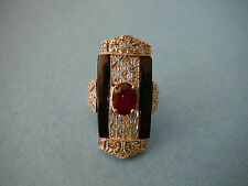 Rarities - Carol Brodie - Ruby / Black Spinel / Diamond Deco Ring - NWT