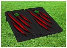 Cornhole Boards BEANBAG TOSS GAME Red Monster Claw Black w Bags Set 390