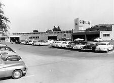 1953 Cadillac Service Dept Entrance Lot Full of cars 8 x 10 Photograph