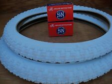 [2] 20'' X 2.125 WHITE BICYCLE TIRES & [2] TUBES FOR GT, DINO, MONGOOSE, ETC