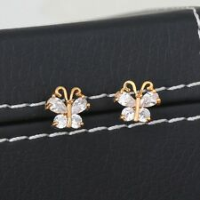Womens Girls 18K Gold Filled Round Cubic Zirconia Butterfly Stud Earring Gift