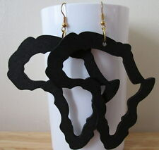 large Black Africa Map outline Earrings made with light wood  - handmade
