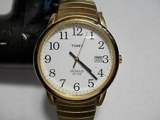TIMEX MENS QUARTZ WATCH W/DATE GOLD TONE WHITE DIAL  -  PRE-OWNED