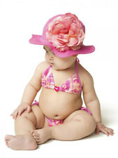 Jamie Rae Sun Hat Pink Rose Flower Baby Girls Toddler Summer Accessory 2 - 4 Yrs