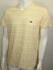 Lacoste Regular Fit V-Neck Men Strip Shirt S-Sleeve Yellow Sz 3 = XSmall NWT