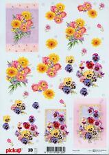 Feuille 3D à découper A4 - Pickup-098 Fleurs Pensées - Decoupage Flowers
