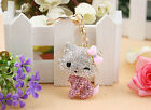 Lovely Cute Cat Poodle Crystal Keychain Keyring Handbag Accessory Charm Pendant