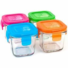 Wean Green Wean Cubes Baby Food Glass Containers Multi-color Set of 4 4oz/120ml