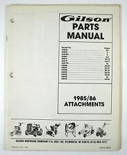 Gilson Parts Manual 1985 1986 Attachments Catalog