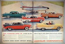 Chrysler 2-Page PRINT AD - 1955 ~~ 1956 models ~~ Flight-Sweep design / jet