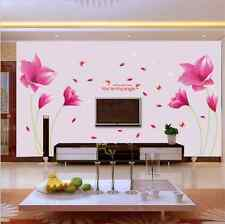 PVC Romantic Pink Orchid Art Wall Stickers Removable bedroom Decor Vinyl Decals