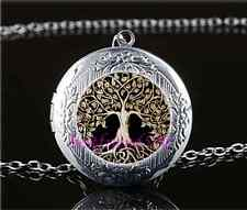 Metal Tree of Life Cabochon Glass Tibet Silver Locket Pendant Necklace