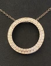 Sterling Silver & Real Pave Diamonds Eternal Love Circle Pendant Necklace
