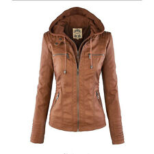 Womens PU Faux Leather Hooded Jacket Motorcycle Coat Bomber Biker Outwear Tops #