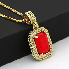 Square Synthetic Ruby Pendant On Gold Plated stainless steel Cuban Necklaces