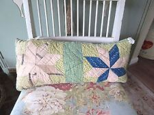 Antique Hand Made Quilt Pillow Lumbar Accent/Throw Chic Country Shabby Cottage