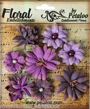Mini Mix PURPLE 8 Teastained Paper Flowers 20-35mm across Darjeeling Petaloo