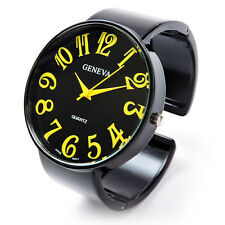Black Yellow Supersize Face Metal Band Women's Geneva Bangle Cuff Watch