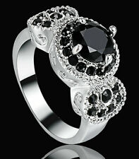 Lady/Women's silvery 10K white gold Filled Black Obsidian Wedding Ring size 6