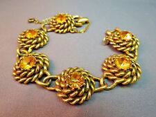 "VTG Coro Link Bracelet Huge Rhinestones Antiqued Gold Plated Twist  7.5"" Yellow"