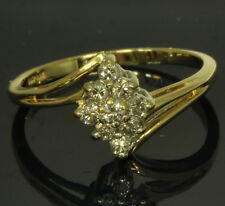 14k Yellow Gold 1/5 Cttw Marquise Shaped Diamond Cocktail Cluster Estate Ring
