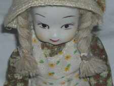 """9""""Tall Porcelain Doll Face Hands & Feet with Hat and Apron Free Shipping in USA"""
