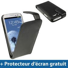 Noir Étui Housse en Cuir pour Samsung Galaxy S3 III i9300 Android Smartphone