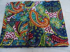 Reversible Indian Kantha Quilt Handmade Bedspread Queen Size Throw Abstract Ikat