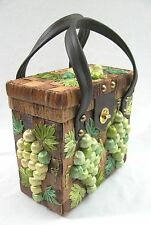 VTG Woven Green Straw 3D Grapes Woven Basket Purse Philippines Brown Hand Bag