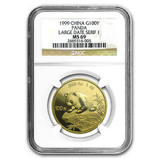 1999 China 1 oz Gold Panda Large Date/Serif 1 MS-69 NGC - SKU #64025